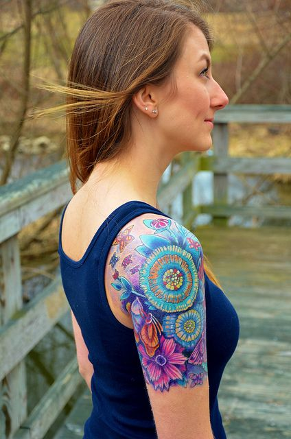 flower tattoos with a lot of colors
