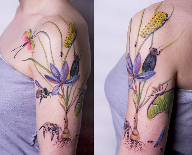flower tattoos with nature life