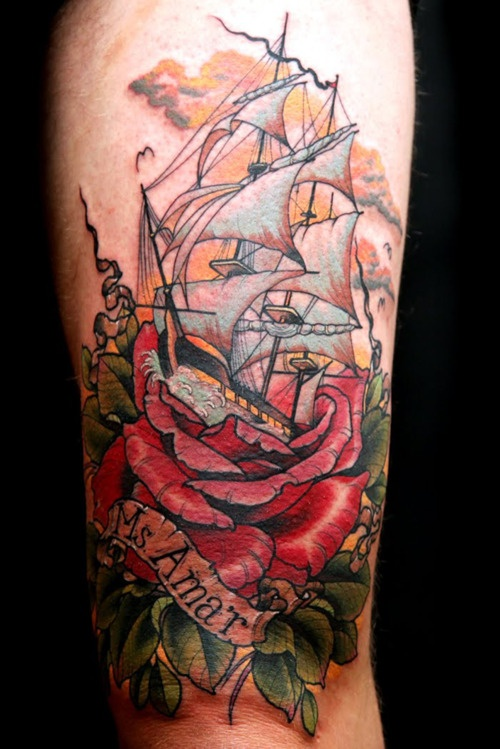 flower tattoos with sinking ship