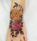 flower tattoos yellow roses on foot
