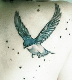 girly tattoo bird and stars