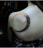 girly tattoo moon on back shoulder