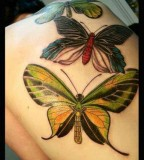 green tatoo three huge butterflies on back