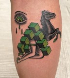 green tattoo horse by luca font