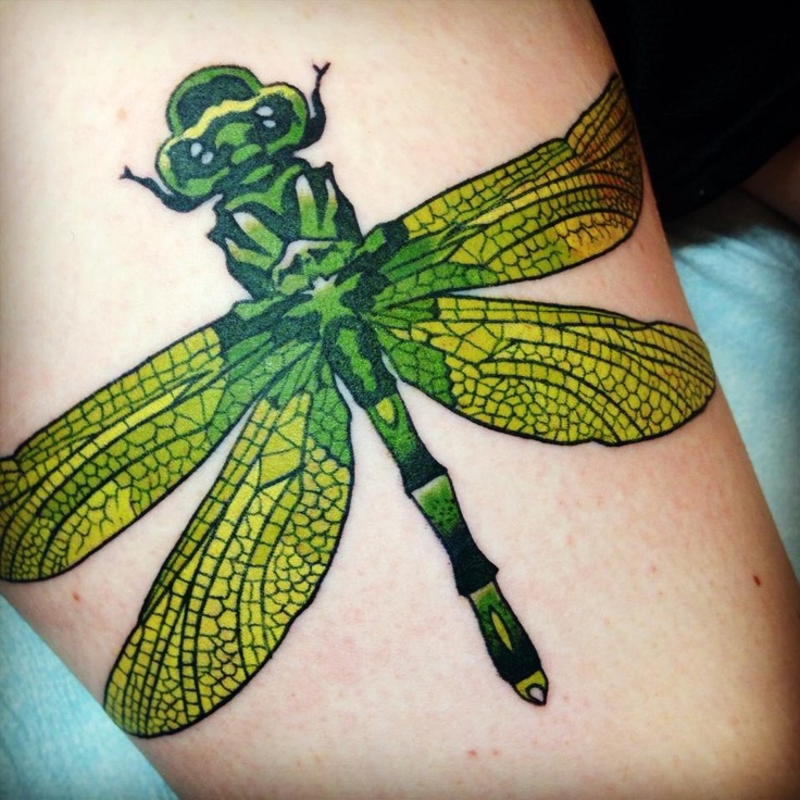 green tattoo realistic dragon-fly