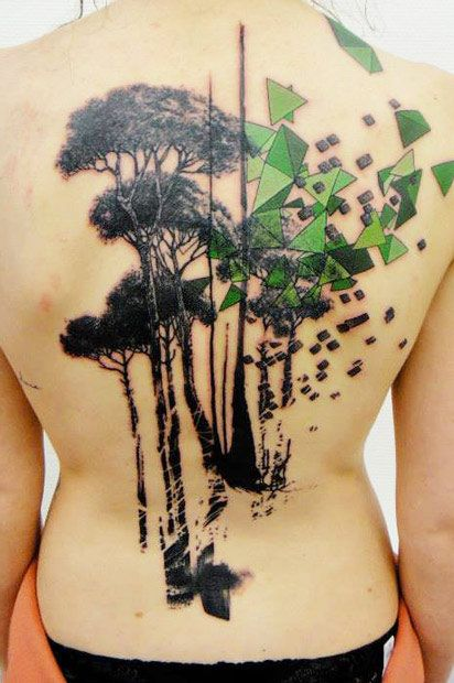 green tattoo trees by xoil