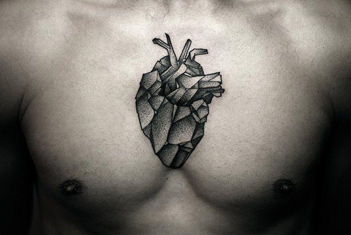 kamil czapiga tattoo geometric heart on chest