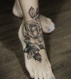 legs rose tattoo