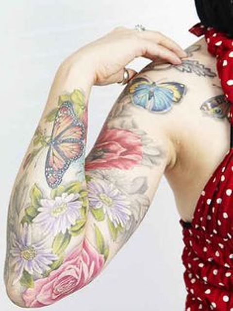 light full sleeve flowers and butterflies