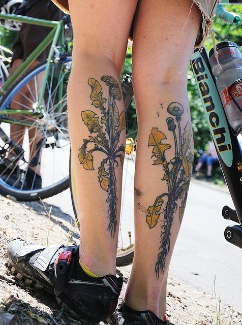 nature tattoo dandelion on legs