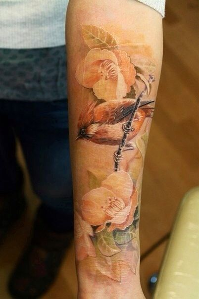 nature tattoo pastel flowers and bird piece