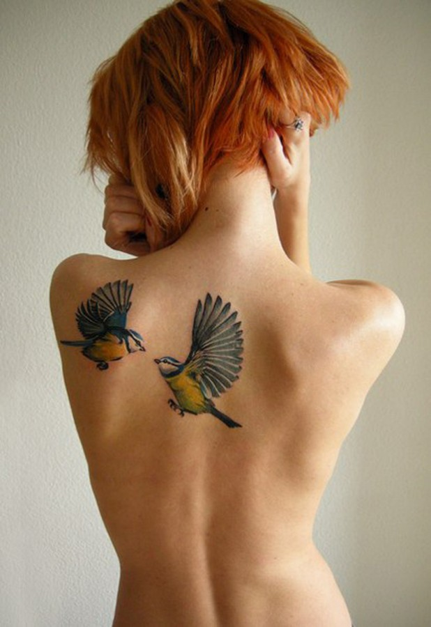 nature tattoo red haired girl with birds  on back