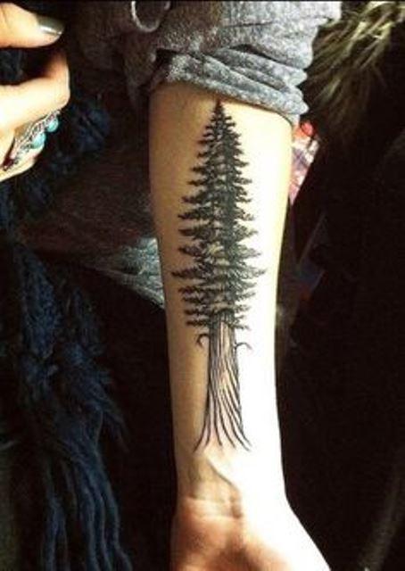 nature tattoo tree on inside arm