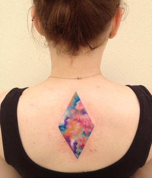 ondrash tattoo colour rhombus on back