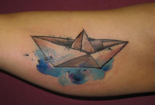 ondrash tattoo paper boat