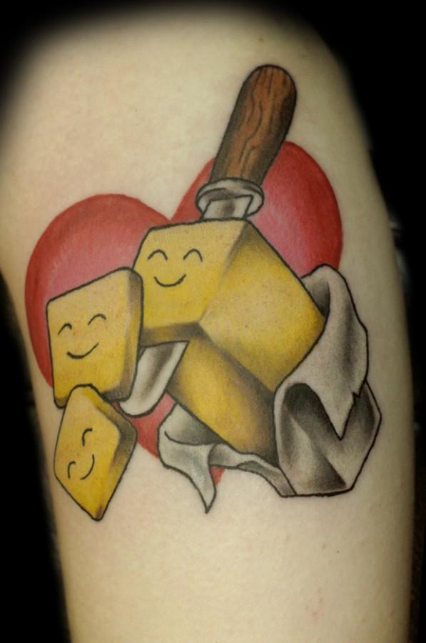 pop art tattoo by cavan infante heart and butter