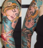 pop art tattoo comics inspired full arm sleeve