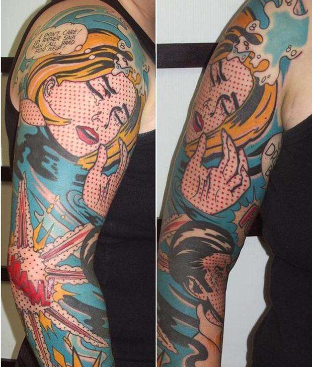pop art tattoo comics inspired full arm sleeve