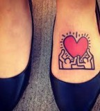 pop art tattoo keith haring inspired foot tattoo