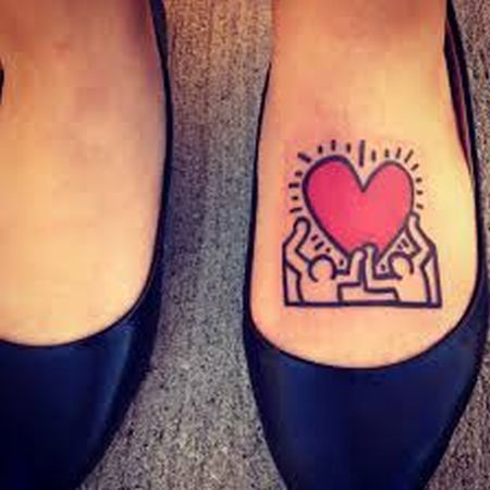 pop art tattoo keith haring inspired foot tattoo