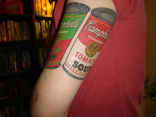 pop art tattoo soup cans inspired by andy warhol