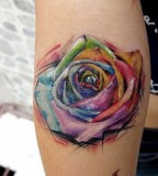 quality flower tattoo in paint art