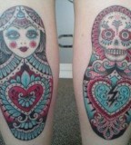 russian doll tattoo beautiful scull matryoshka