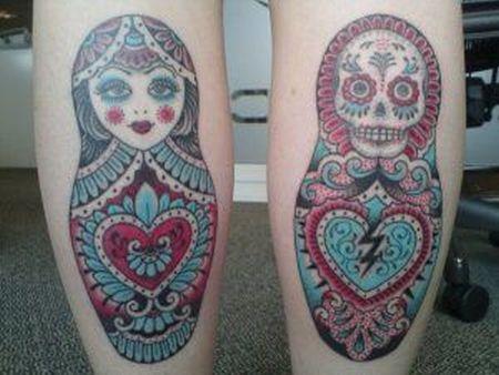 russian doll tattoo beautiful scull matryoshka