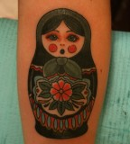 russian doll tattoo green matryoshka