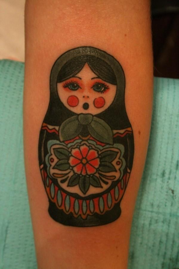 russian doll tattoo green matryoshka