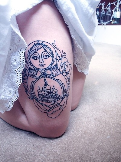 russian doll tattoo line work blue matryoshka