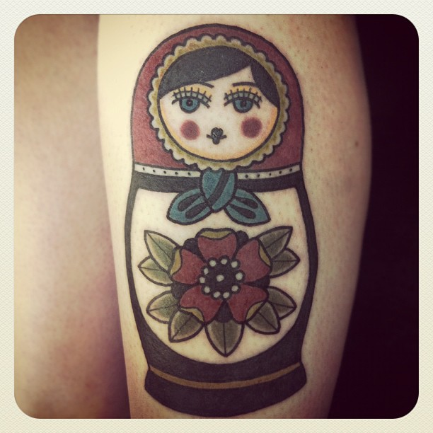 russian doll tattoo matryoshka with red hood