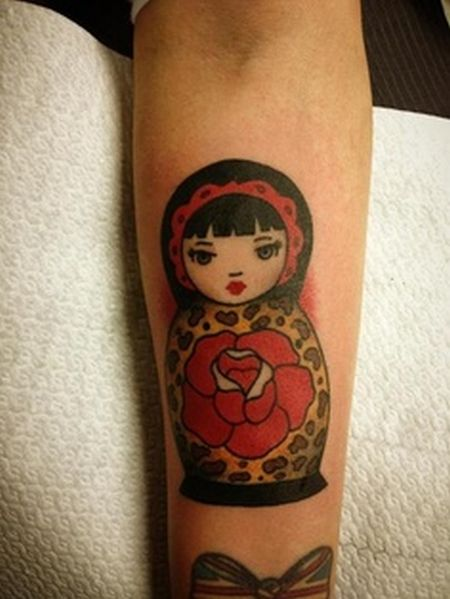 russian doll tattoo matryoshka with rose