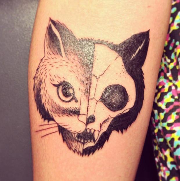supakitch tattoo cat head and cat scull