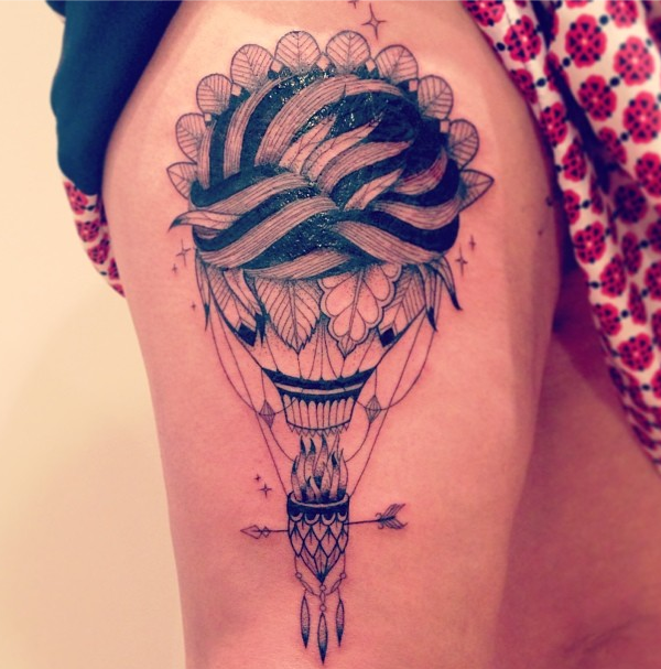 supakitch tattoo feather air balloon