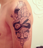 supakitch tattoo surreal building on shoulder