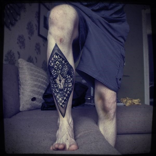 tattoos for men rhombus leg tattoo