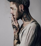 tattoos for men scull work on neck and arm