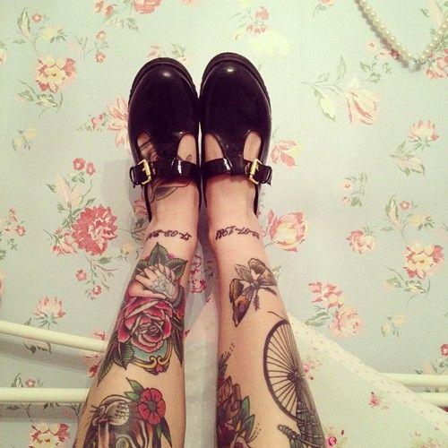 traditional rose tatoo on leg