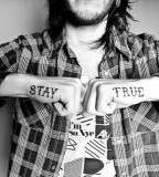 typographic hands tattoo stay true