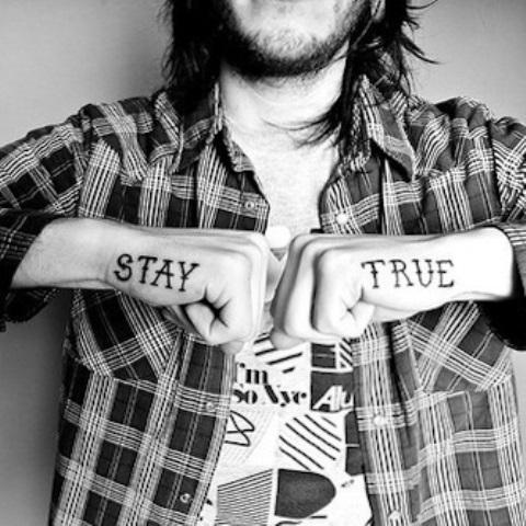 typographic hands tattoo stay true