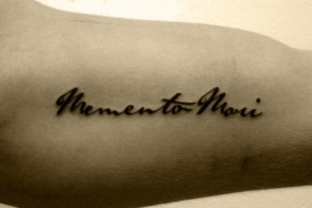 typographic tattoo memento mori