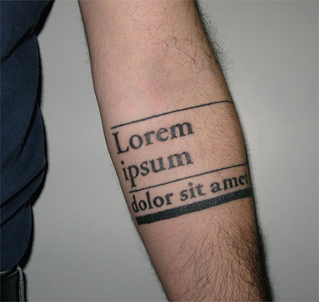 typogrphic arm tattoo lorem ipsum
