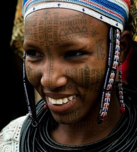 Africa face tattoo