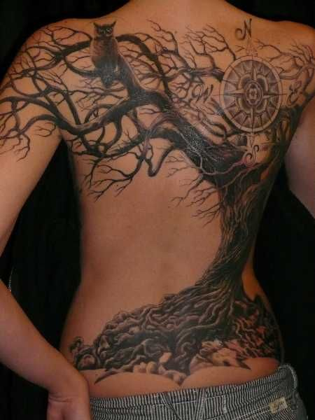 Amaizing tree and owl back tattoo