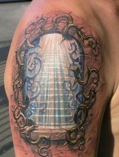 Amaizing tunnel religious tattoo