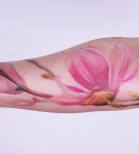 Amazing flower pink tattoo
