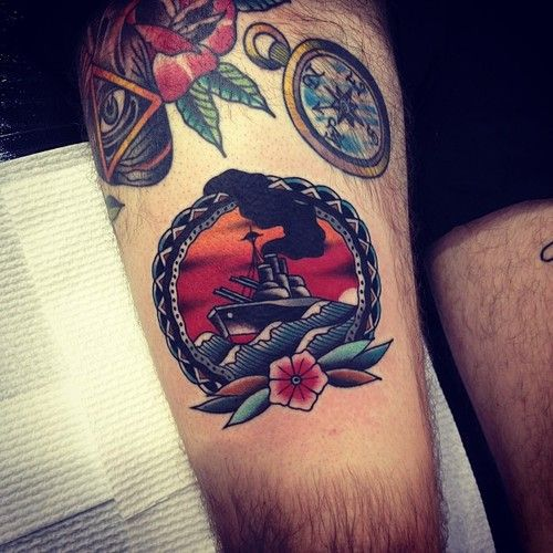 Awesome ship tattoo by Kirk Jones