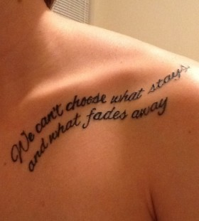 Awesome shoulder quotes tattoo