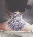 Back of neck lace tattoo
